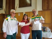 2018's inugural Pairs winners, Stelios Imvrios and Peter Casserly with Sue Foley from Murrumbeen Bendigo Community Bank, our tournament sponsor