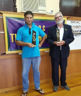 Mens Singles Champion Les West with Runner-Up Tom Zafiropoulos